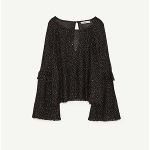 NWT Zara sequined Bell Sleeve Sweater